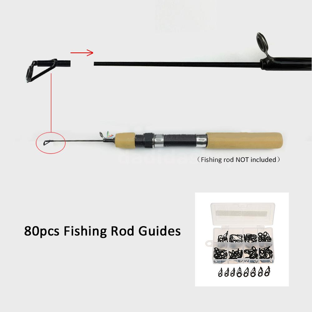 80pcs fishing rod guide set tip repair kit fishing rod for Fishing rod guides replacement